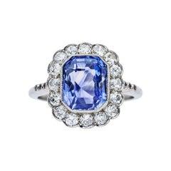 4.32 Carat Cornflower Blue Sapphire Diamond Platinum Ring