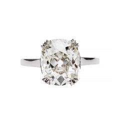 Edwardian GIA 4.26 Carat Diamond Platinum Engagement Ring