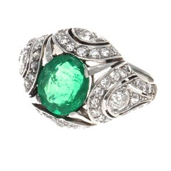 French Art Deco Emerald Diamond Platinum Ring
