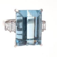16.92 Carat Aquamarine Diamond Platinum Ring