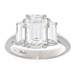 GIA 1.57 Carat Emerald Cut Diamond Platinum Engagement Ring