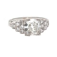 Art Deco GIA 1.20 Old European Cut Diamond Platinum Engagement Ring