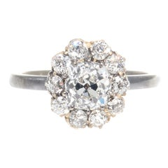 Victorian GIA 1.00 Carat Diamond Gold Cluster Ring