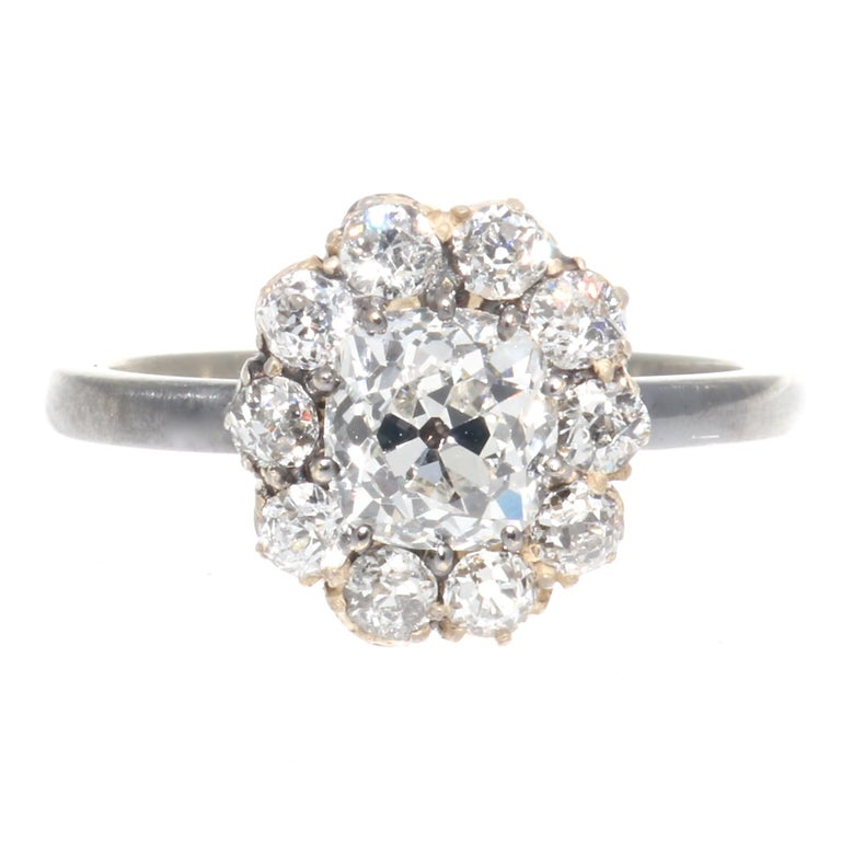Victorian GIA 1.00 Carat Diamond Gold Cluster Ring