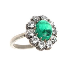 Victorian 2.29 Carat Cabochon Emerald Diamond Cluster Ring