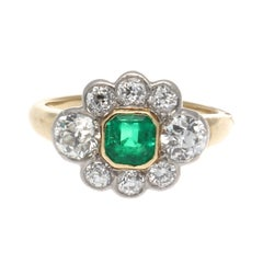Art Deco Emerald Diamond Gold Platinum Cluster Ring