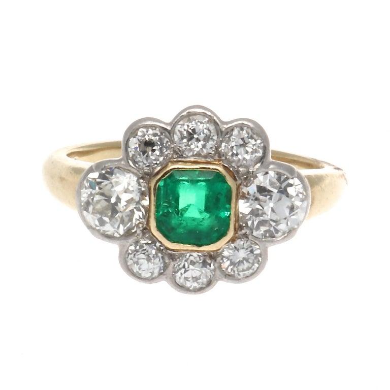 Art Deco Emerald Diamond Gold Platinum Cluster Ring