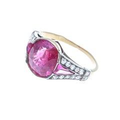 French Art Deco Burma Ruby Diamond Gold Ring