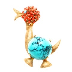Vintage Coral Turquoise Gold Duck Brooch