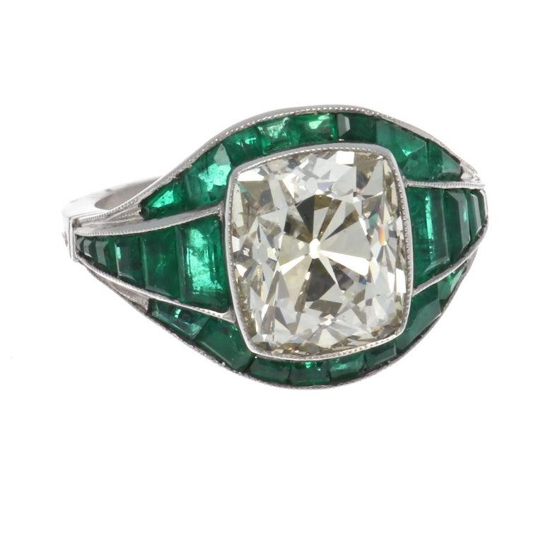 5.08 Old Mine Cut Diamond Emerald Platinum Ring For Sale