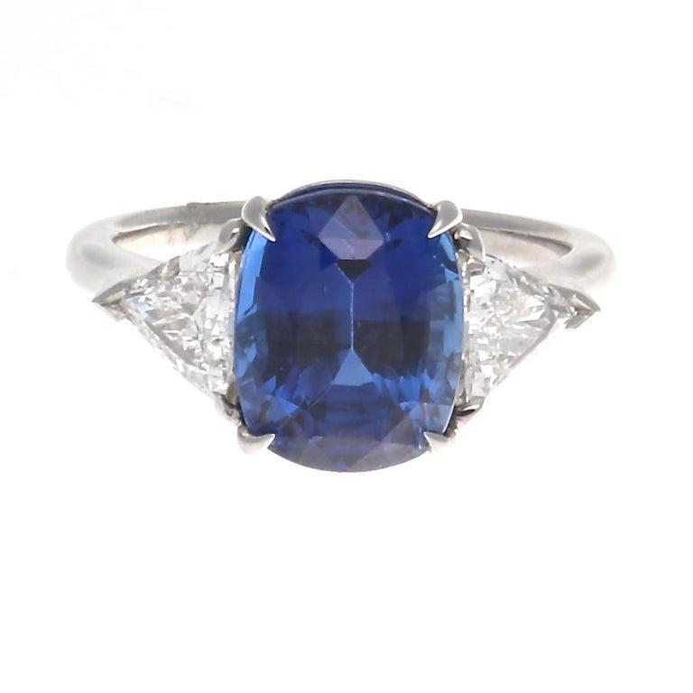 4.88 Carat Sapphire Diamond Platinum Three-Stone Ring