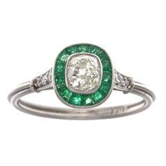 Art Deco Revival Diamond Emerald Platinum Engagement Ring