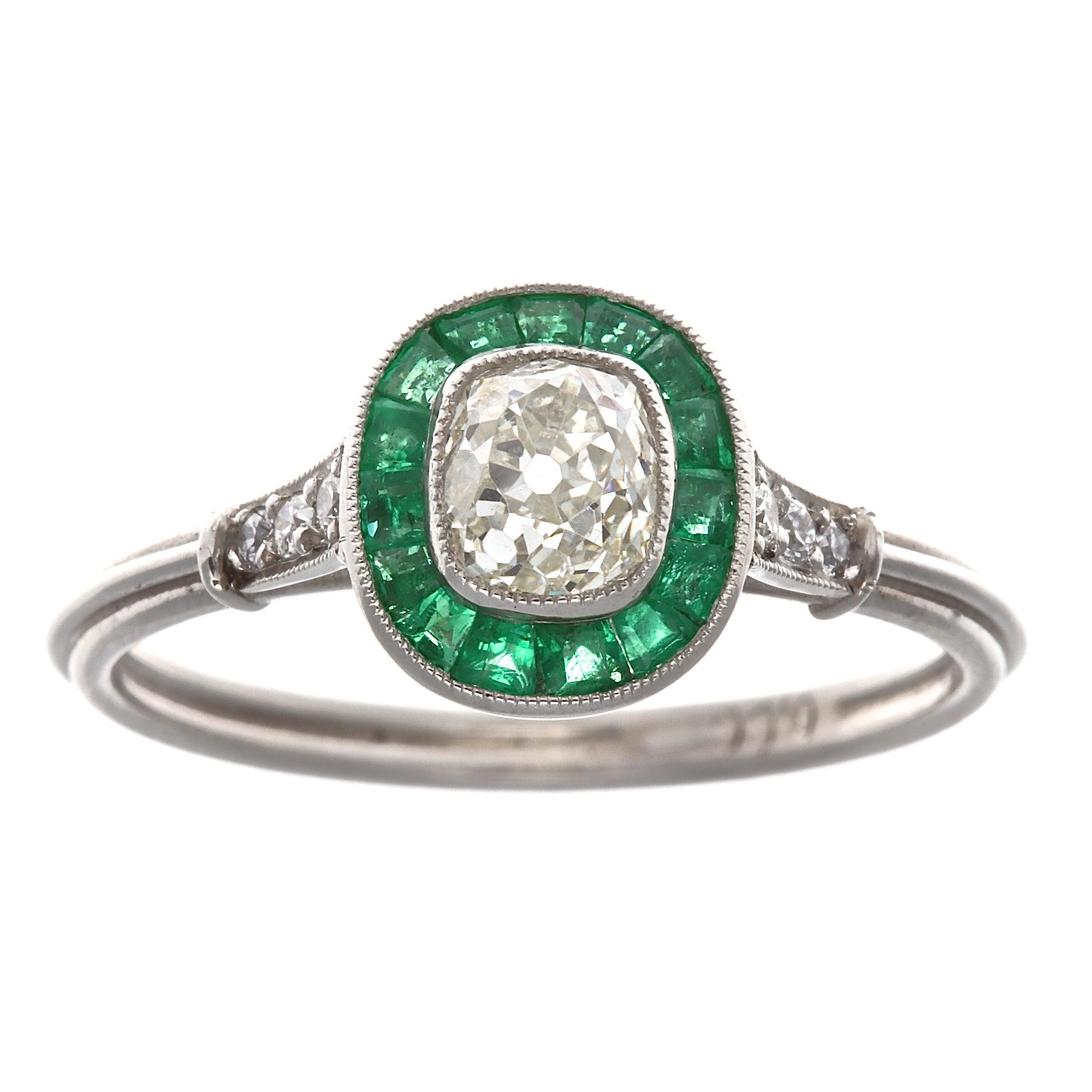 Art Deco Style Diamond Emerald Platinum Engagement Ring