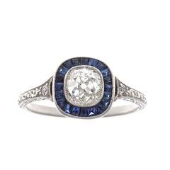 Art Deco Revival 1.07 Carat Diamond Sapphire Platinum Ring