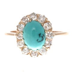 Turquoise Diamond Gold Cluster Ring