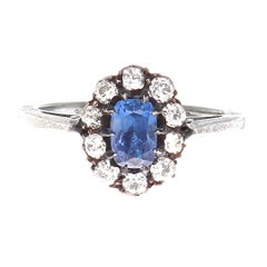 Victorian Kashmir Sapphire Diamond Gold and Silver Cluster Engagement Ring