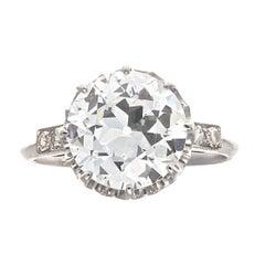 Art Deco GIA 4.00 Carat Old European Cut Diamond Platinum Engagement Ring