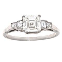 Art Deco GIA 1.30 Carat Asscher Cut Diamond Platinum Engagement Ring