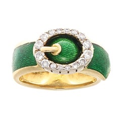 Fred Paris Diamond Enamel Gold Buckle Ring