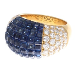 Mystery Set Sapphire Diamond Gold Dome Ring