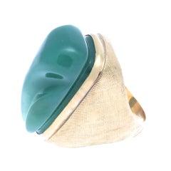 Vintage Burle Marx Modernist Jade Gold Ring