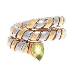 Bulgari Green Tourmaline Gold and Steel Tubogas Serpenti Ring