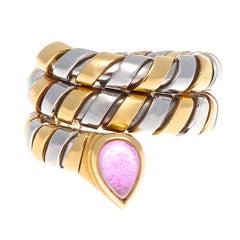 Bulgari Amethyst Gold Steel Tubogas Serpenti Ring