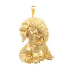 Tiffany & Co. Diamond Gold Elephant Pendant