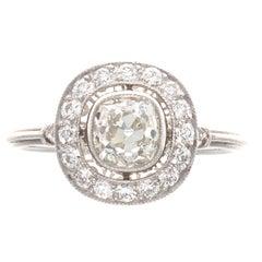 Art Deco Old Cushion Cut Diamond Platinum Engagement Ring