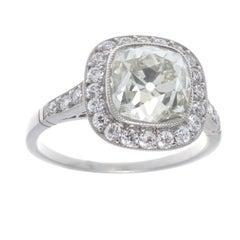 Art Deco Revival 2.94 Carat Diamond Platinum Engagement Ring
