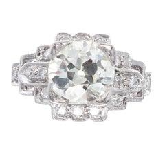 Art Deco 1.35 Carat Diamond Platinum Engagement Ring