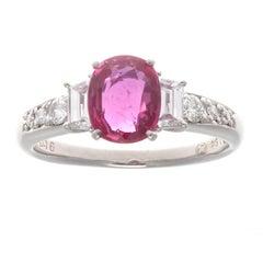 Natural 1.64 Carat No Heat Ruby Diamond Platinum Engagement Ring