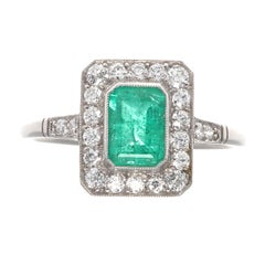 Emerald Cut Emerald Diamond Platinum Ring