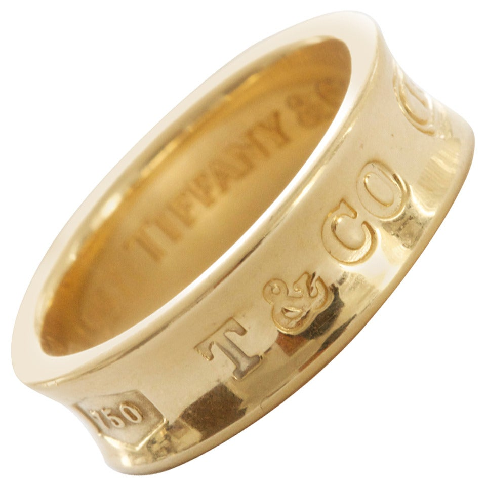 Tiffany & Co. 1837 Gold Wide Band Ring For Sale
