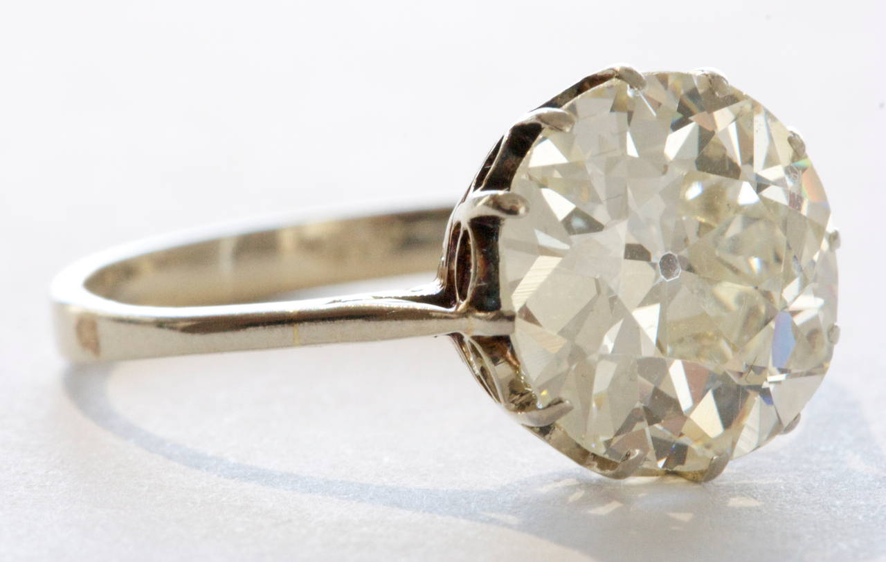 4 Carat Old European Cut Diamond Platinum Engagement Ring at 1stdibs