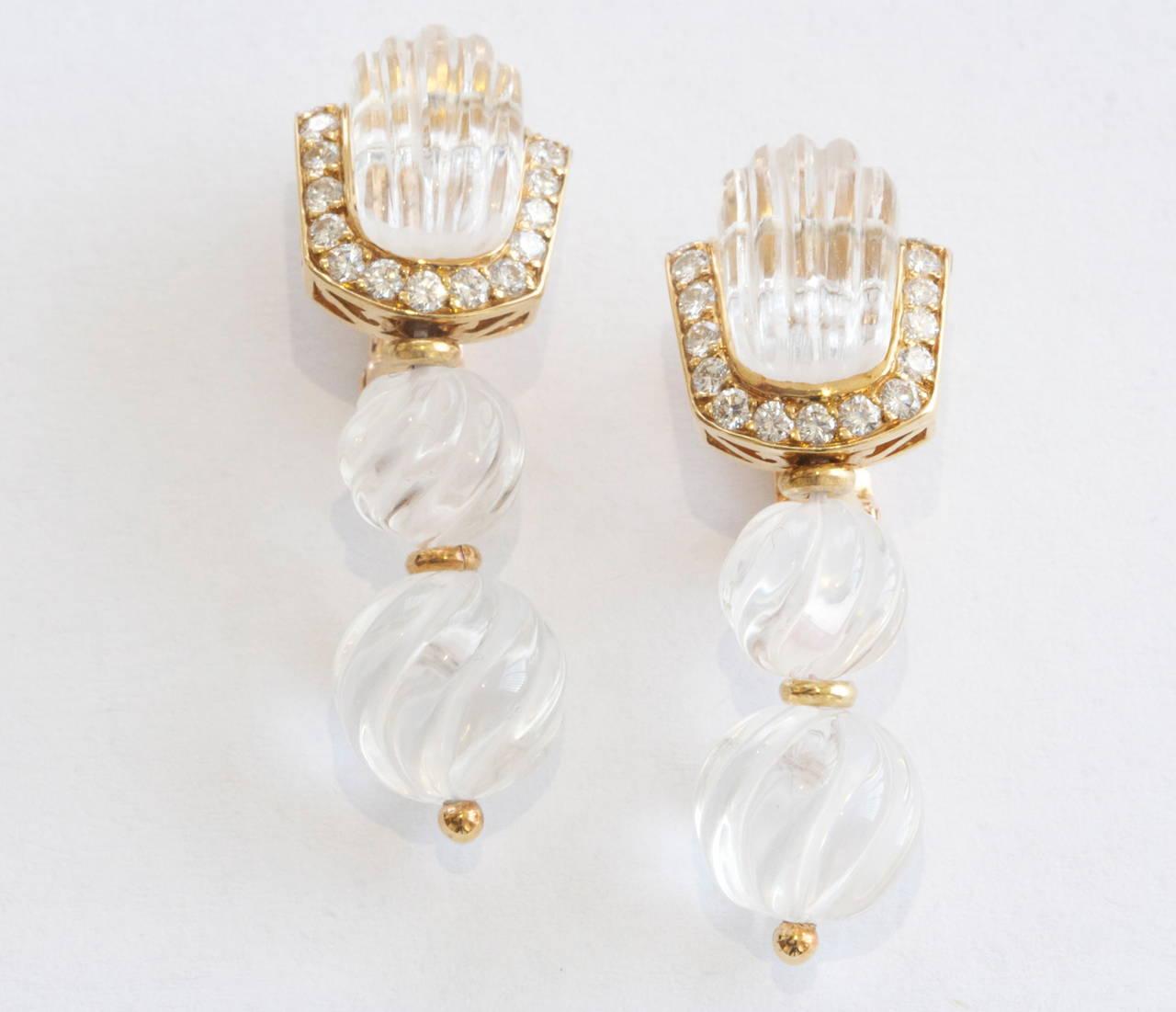 Vintage pearl drop gold earrings bocheron pearl earrings gold - Boucheron Rock Crystal Diamond Gold Drop Earrings 2