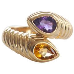 Bulgari Citrine Amethyst Gold Snake Ring