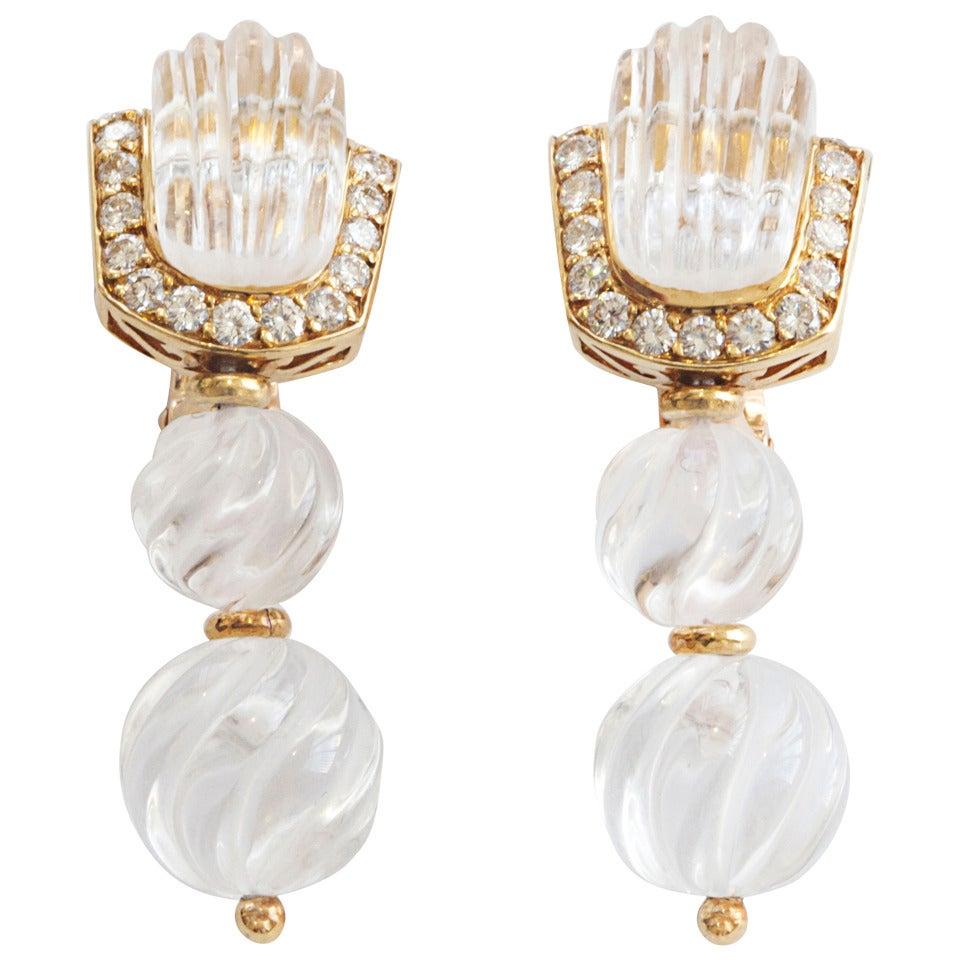 Vintage pearl drop gold earrings bocheron pearl earrings gold - Boucheron Rock Crystal Diamond Gold Drop Earrings 1