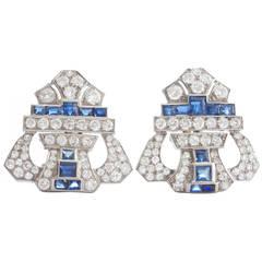 Art Deco Diamond Sapphire Platinum Earrings