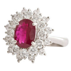Burma 3.03 carat Ruby Diamond Platinum Ring