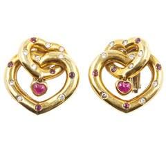 Faraone Ruby Diamond Gold Earrings