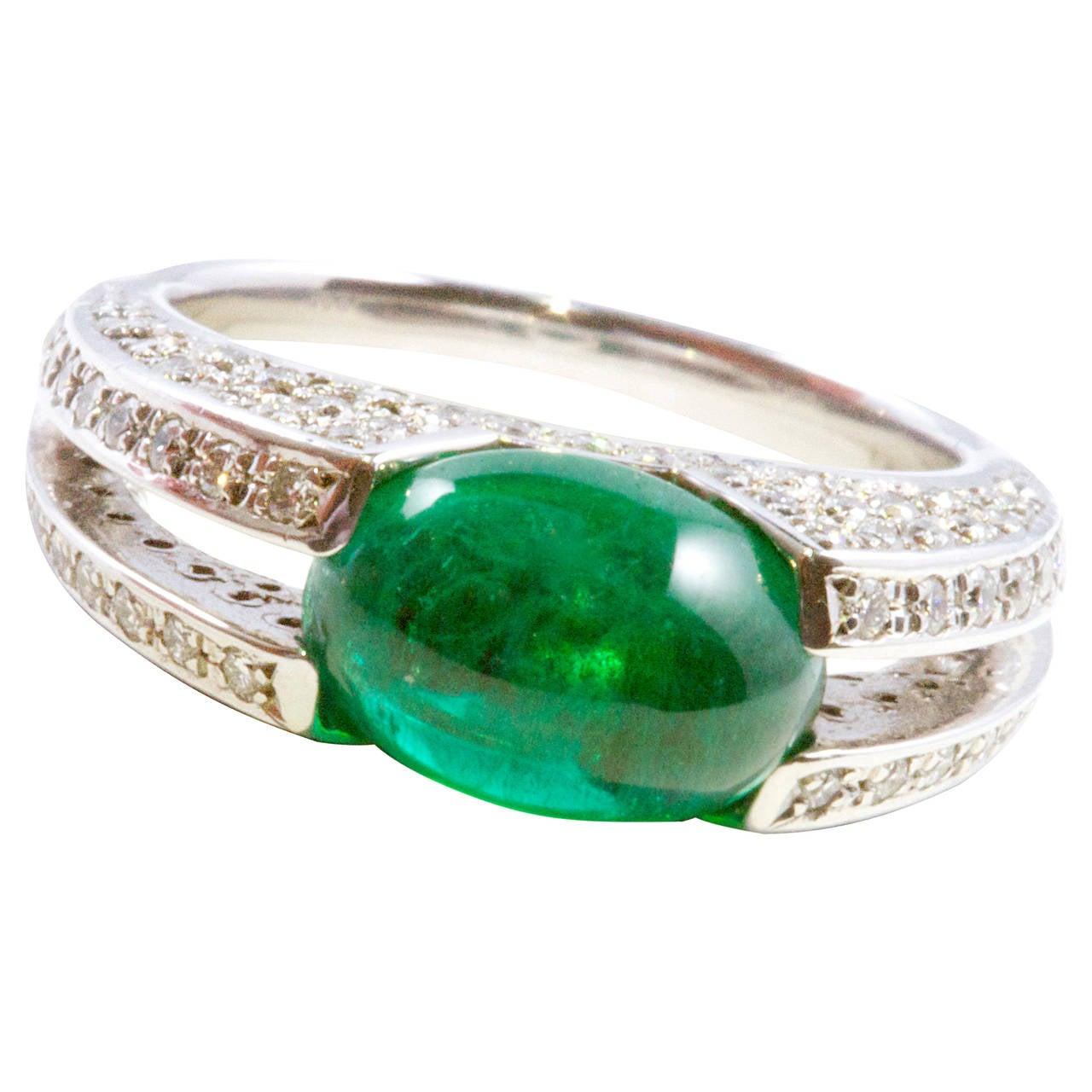 3 35 carat emerald platinum ring at 1stdibs