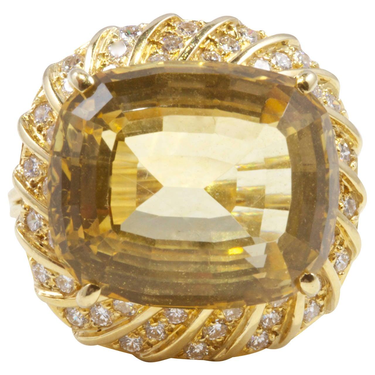 citrine gold cocktail ring at 1stdibs