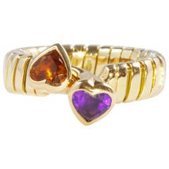 Bulgari Citrine Amethyst Intertwining Heart Gold Ring