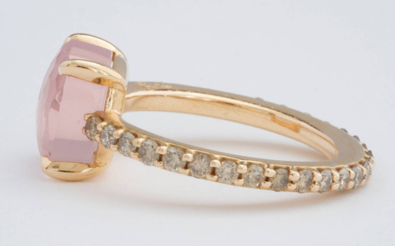 Pomellato Baby Pink Quartz Diamond Gold Ring 3