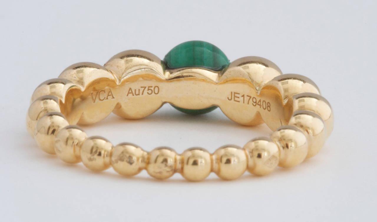 Van Cleef & Arpels Perlee Malachite Gold Ring 3