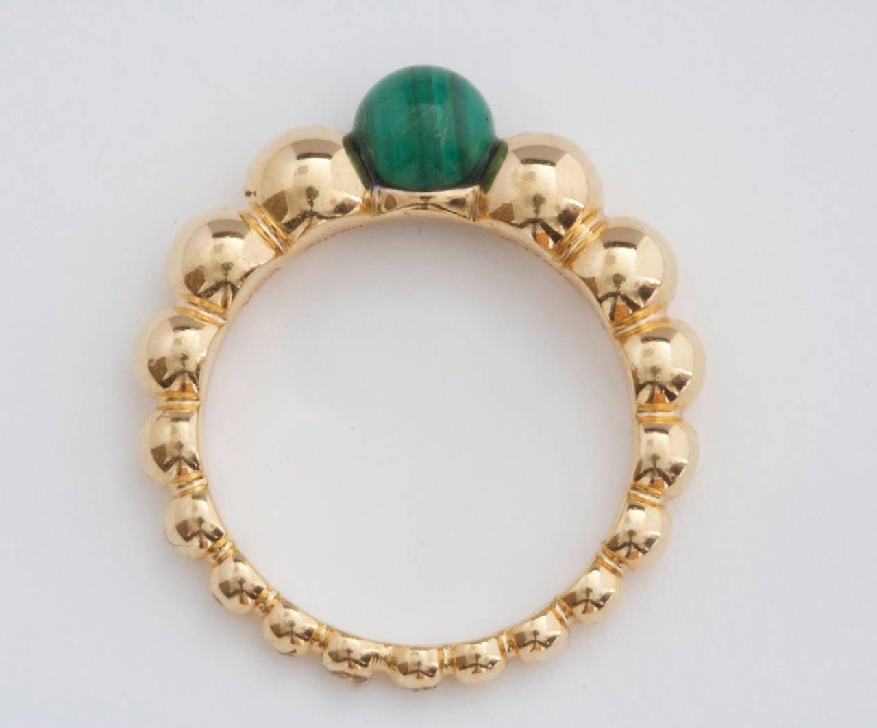 Van Cleef & Arpels Perlee Malachite Gold Ring 4