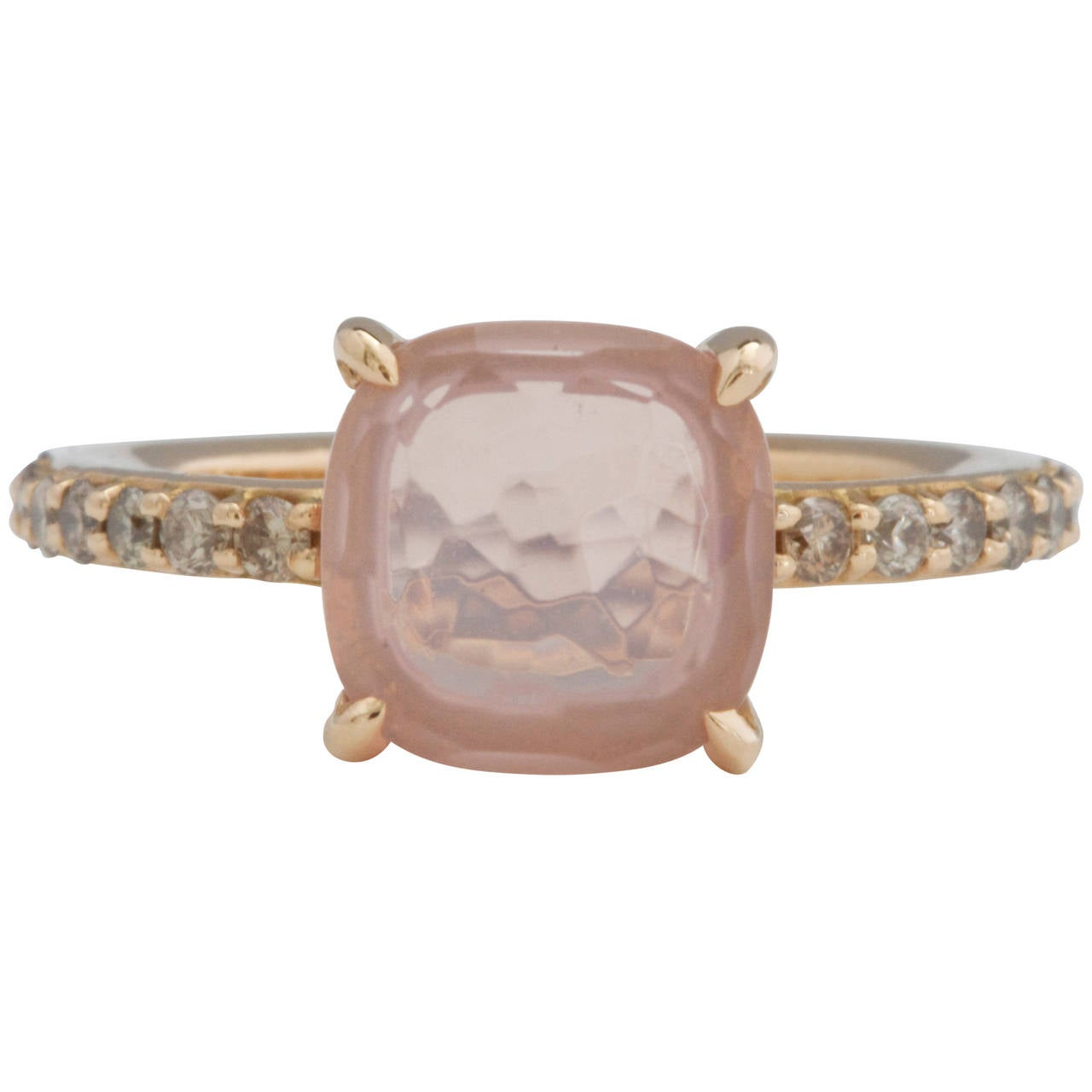 Pomellato Baby Pink Quartz Diamond Gold Ring 1
