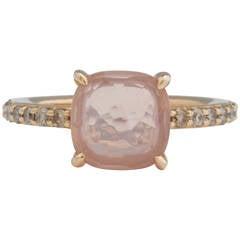 Pomellato Baby Pink Quartz Diamond Gold Ring