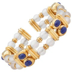 Lovely Boucheron Lapis Lazuli Rock Crystal Gold Bracelet